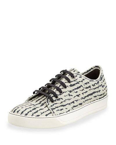 Zebra-Pattern Leather Sneaker, Black/Light Gray