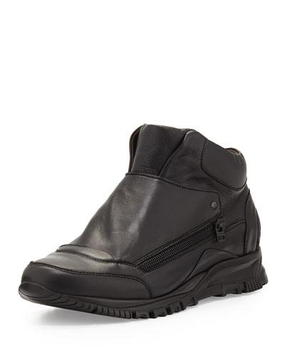 Leather Zip-Panel Sneaker, Black