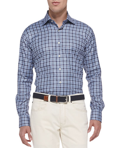 Houndstooth-Plaid Sport Shirt, Navy