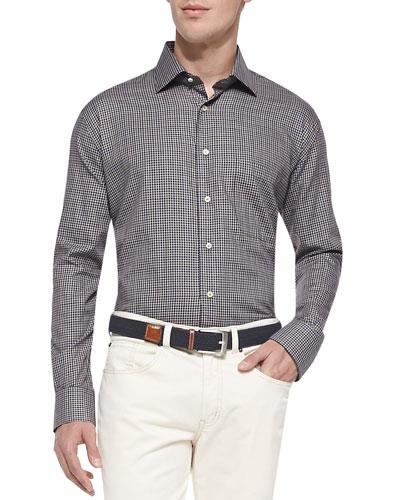 Long-Sleeve Check Sport Shirt, Black/White