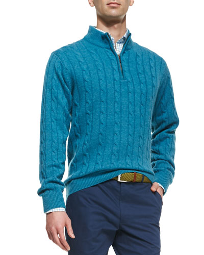 Cashmere Cable Knit 1/2-Zip Sweater, Blue