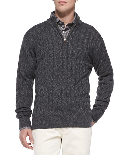 Cashmere Cable-Knit Half-Zip Sweater, Graphite