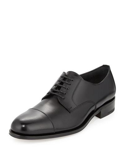 Rand Calfskin Lace-Up Shoe, Black