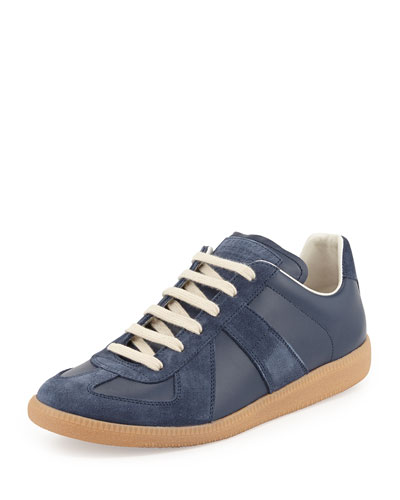 Replica Leather Low-Top Sneaker, Navy