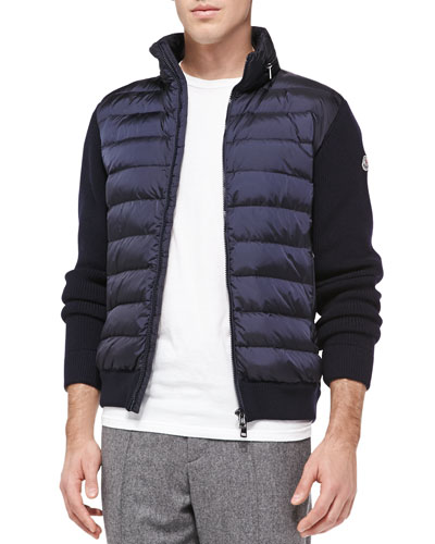 Quilted-Front Zip Sweater, Navy