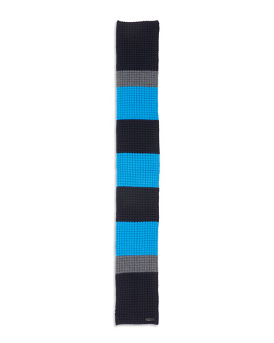 Striped Waffle-Knit Scarf, Blue/Gray