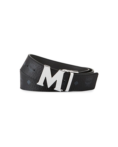 M-Buckle Monogram Belt, Cognac