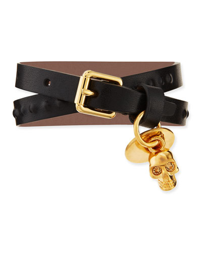 Men's Double-Wrap Leather Skull Bracelet, Black