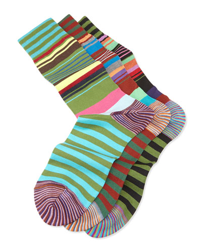 Magnificent 3-Pack Striped Sock, Black/Red/Green