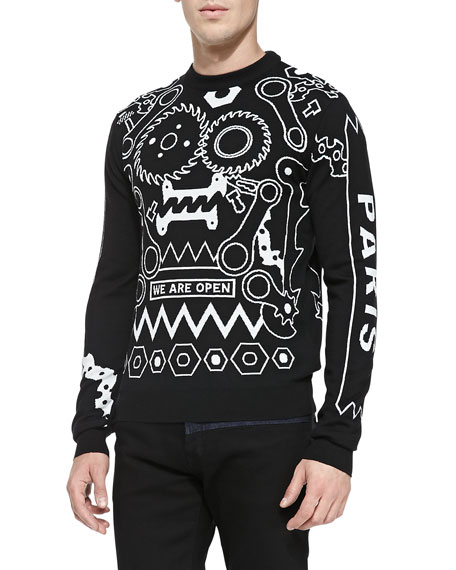 4ced56ea2 Kenzo Tools Intarsia-Knit Crewneck Sweater, Black/White