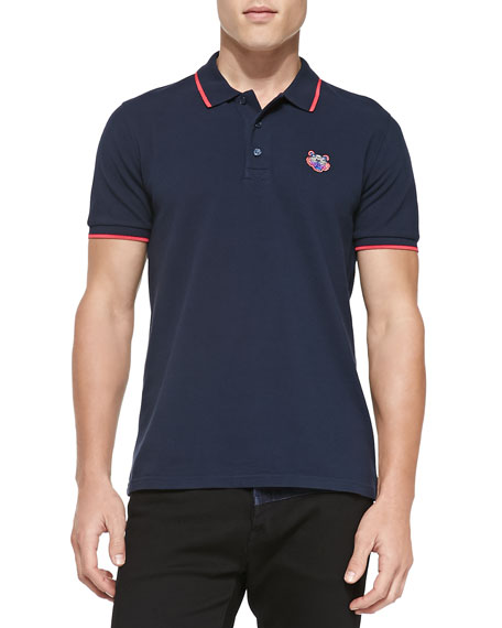591e82cb6f Kenzo Tipped Tiger Polo, Navy/Pink