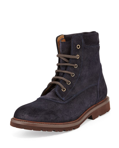 Lace-Up Suede Boot, Blue