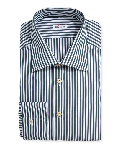 Cotton Alternating Stripes Shirt, Green/Light Blue