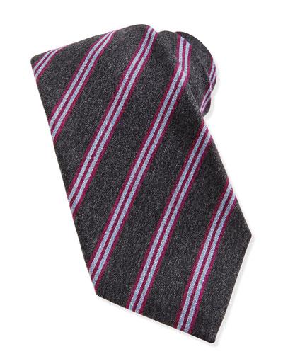 Wool-Silk Track-Stripe Tie, Gray/Pink