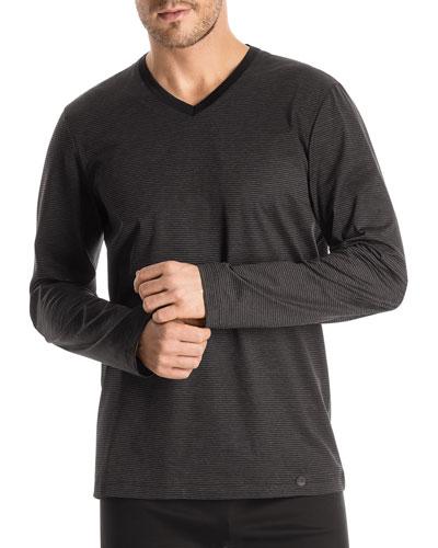 Long-Sleeve Striped Pajama Shirt