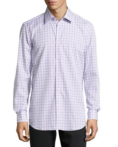 Panter Mixed Check Dress Shirt, Purple