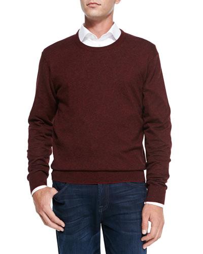 Feeder-Stripe Crewneck Sweater, Ruby Red