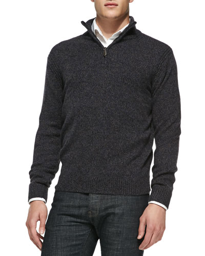 Marled Half-Zip Pullover Sweater, Black/Navy