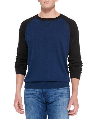Raglan Crewneck Sweater, Blue/Charcoal