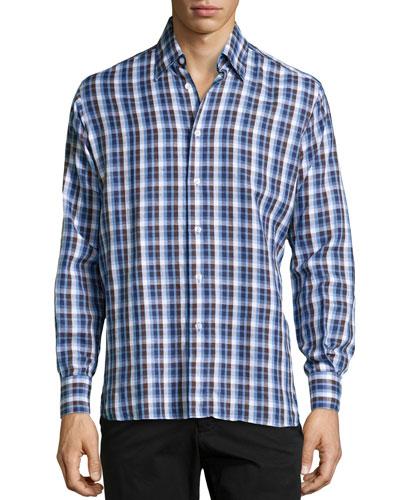 Ricky Checked Cotton-Linen Sport Shirt, Blue Checker