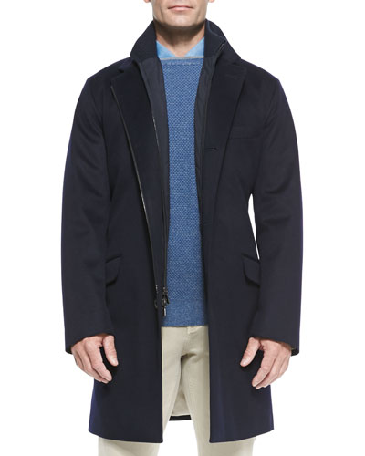 3-in-1 Martingala Storm System Cashmere Coat, Blue Navy