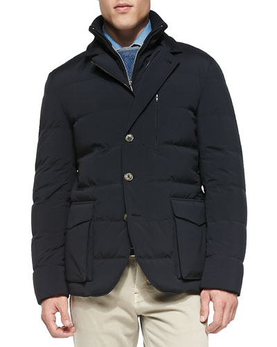 Wind Stretch Storm System Quilted Jacket, Blue Navy