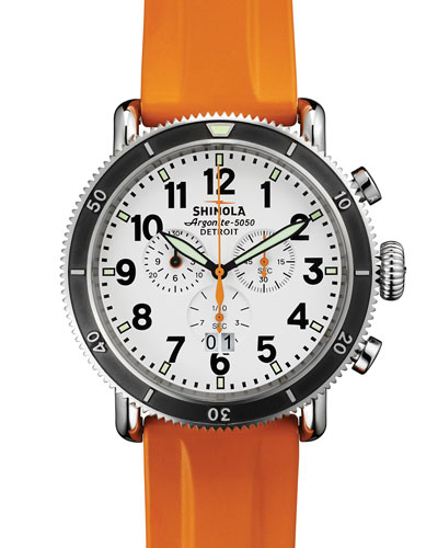 48mm Runwell Sport Chronograph Watch with Rubber Strap, Orange