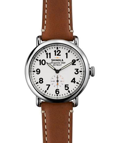 41mm Runwell Men's Watch, Brown/White