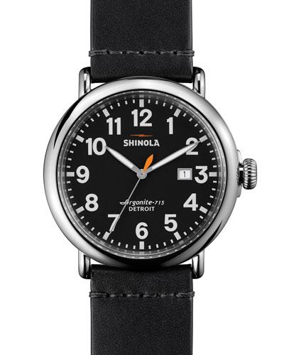 47mm Runwell Leather Watch, Black