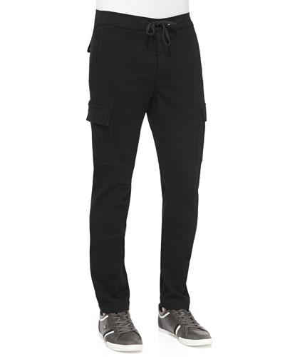 Drawstring Cargo Pants, Black