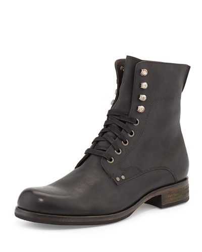 Bonham Leather Lace-Up Boot, Black