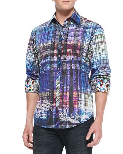 Gingerman Abstract-Plaid Sport Shirt, Multi