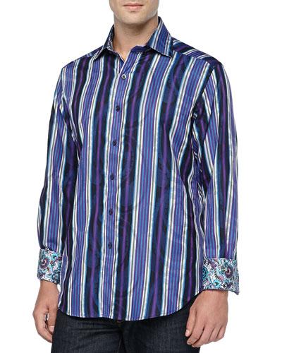 Chelsea Striped Sport Shirt, Blue
