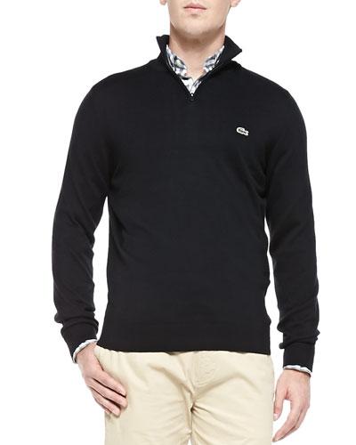Half-Zip Knit Sweater, Black