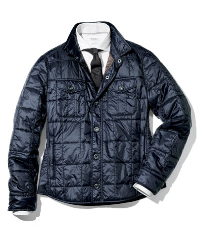 Milano Snap-Front Puffer Jacket, Navy