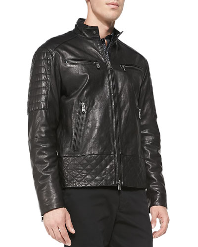 Quilted Washed Leather Jacket