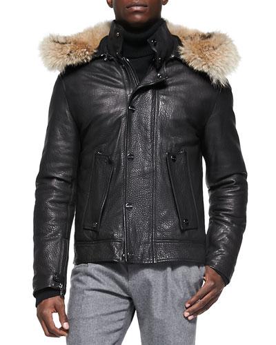 Pebbled Leather Jacket with Fur Hood