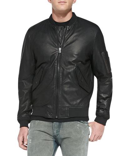 Devra Lightweight Leather Bomber Jacket, Black