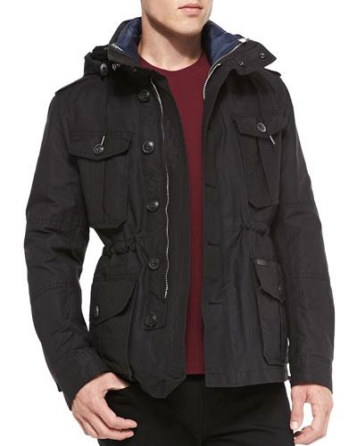 Hooded 3-in-1 Field Jacket, Black