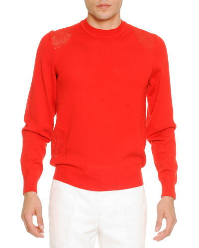 Transparent-Patch Crewneck Sweater, Red