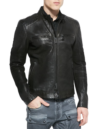 Archer Oiled Suede Jacket, Black