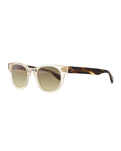 Afton Round Two-Tone Sunglasses, Buff