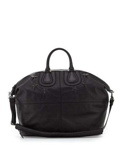 Men's Star-Debossed Nightingale Satchel Bag, Black