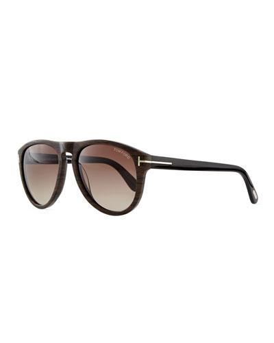 Kurt Acetate Aviator Sunglasses, Brown