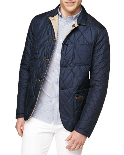 Reversible Quilted Nylon Jacket, Navy/Camel