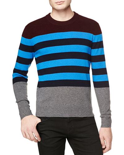 Multicolor Striped Crew Sweater