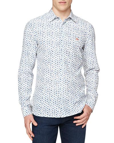 Brushstroke-Print Silk/Cotton Shirt, Blue