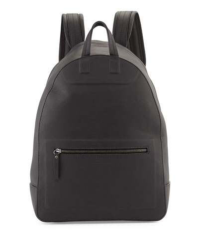 Matte Leather Backpack, Black