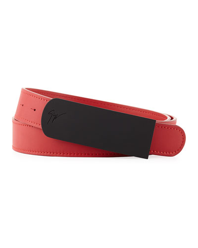Men's Leather Rubberized-Plaque Belt, Red/Black