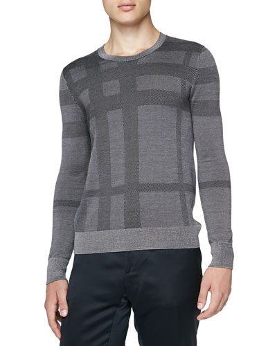 Check Silk Crewneck Sweater, Gray
